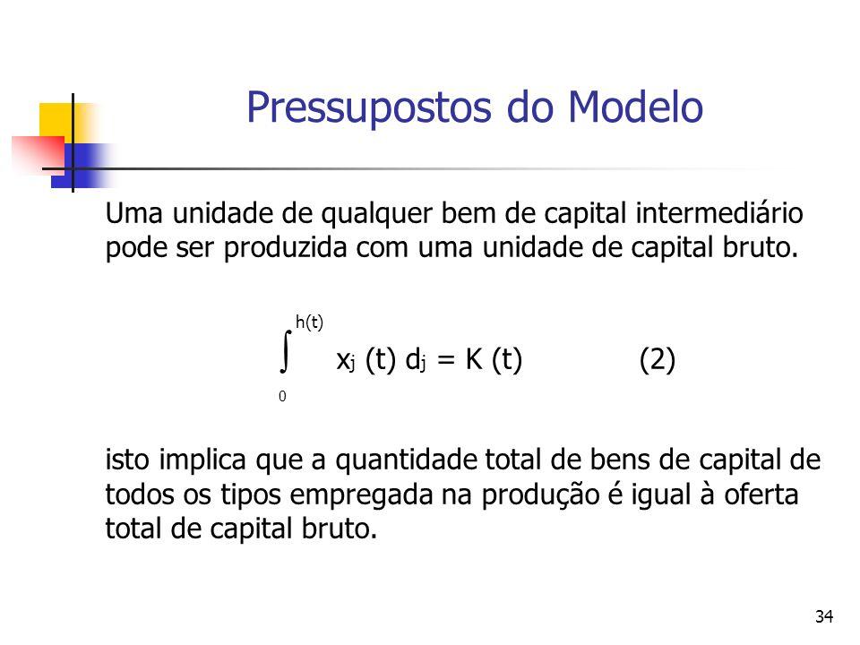 34 Uma unidade de qualquer bem de capital intermediário pode ser produzida com uma unidade de capital bruto. h(t) x j (t) d j = K (t) (2) 0 isto impli