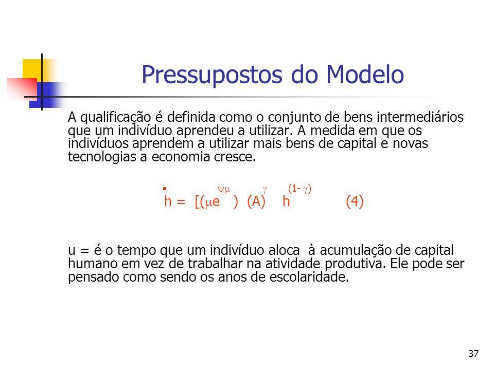 37 Pressupostos do Modelo A qualificação é definida como o conjunto de bens intermediários que um indivíduo aprendeu a utilizar. A medida em que os in