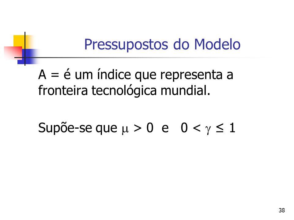 38 Pressupostos do Modelo A = é um índice que representa a fronteira tecnológica mundial. Supõe-se que > 0 e 0 < 1