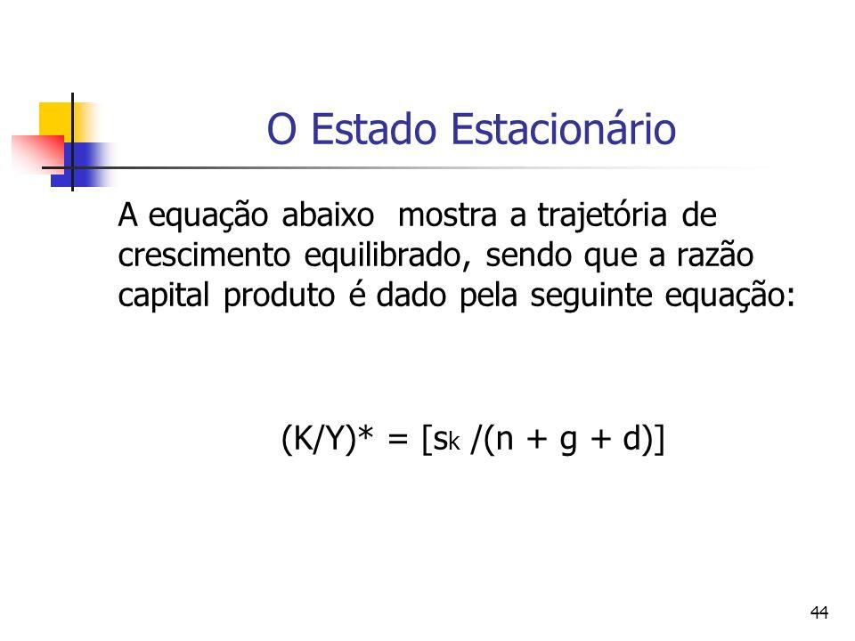 44 O Estado Estacionário A equação abaixo mostra a trajetória de crescimento equilibrado, sendo que a razão capital produto é dado pela seguinte equaç