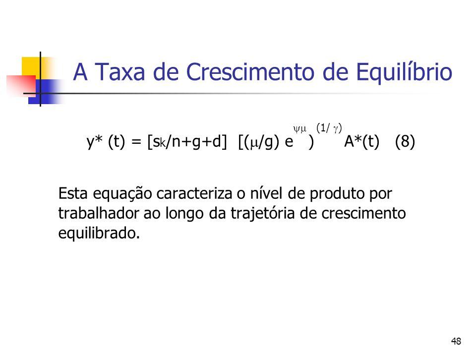 48 A Taxa de Crescimento de Equilíbrio (1/ ) y* (t) = [s k /n+g+d] [( /g) e ) A*(t) (8) Esta equação caracteriza o nível de produto por trabalhador ao