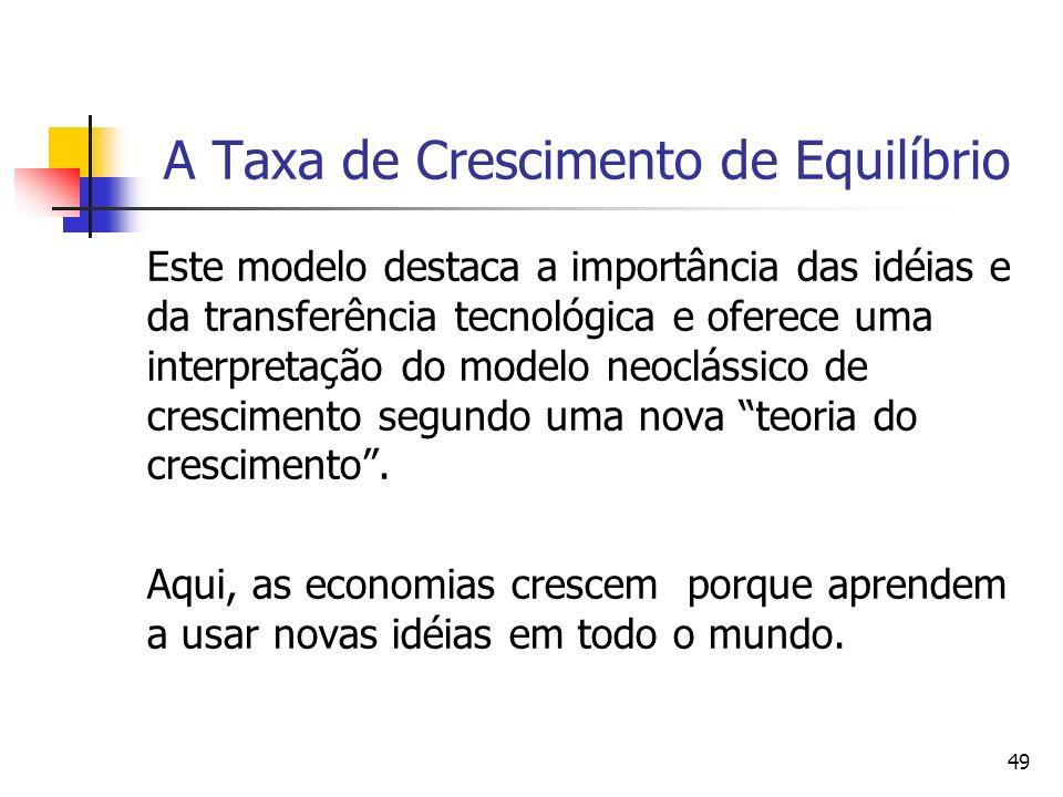 49 A Taxa de Crescimento de Equilíbrio Este modelo destaca a importância das idéias e da transferência tecnológica e oferece uma interpretação do mode