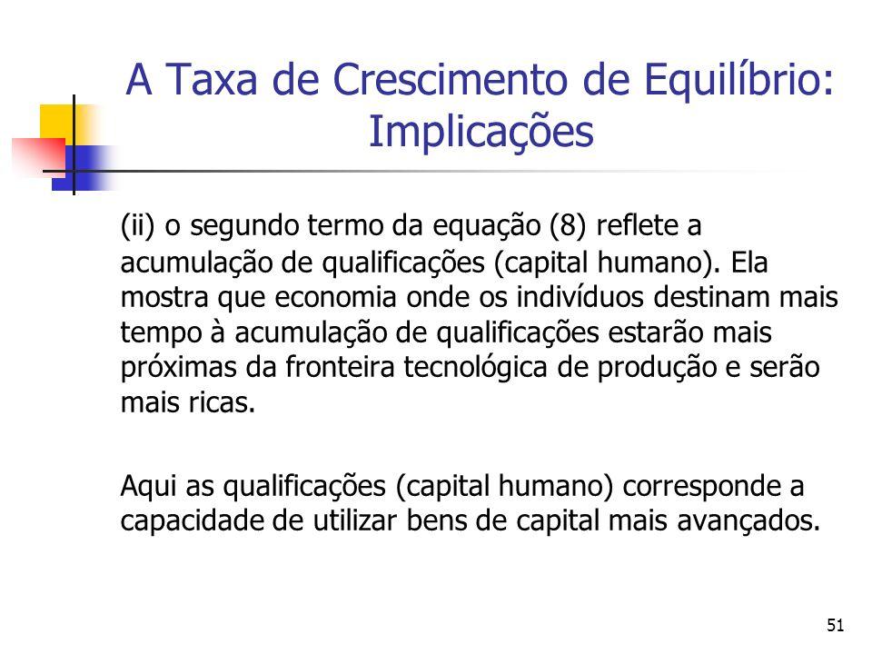 51 A Taxa de Crescimento de Equilíbrio: Implicações (ii) o segundo termo da equação (8) reflete a acumulação de qualificações (capital humano). Ela mo