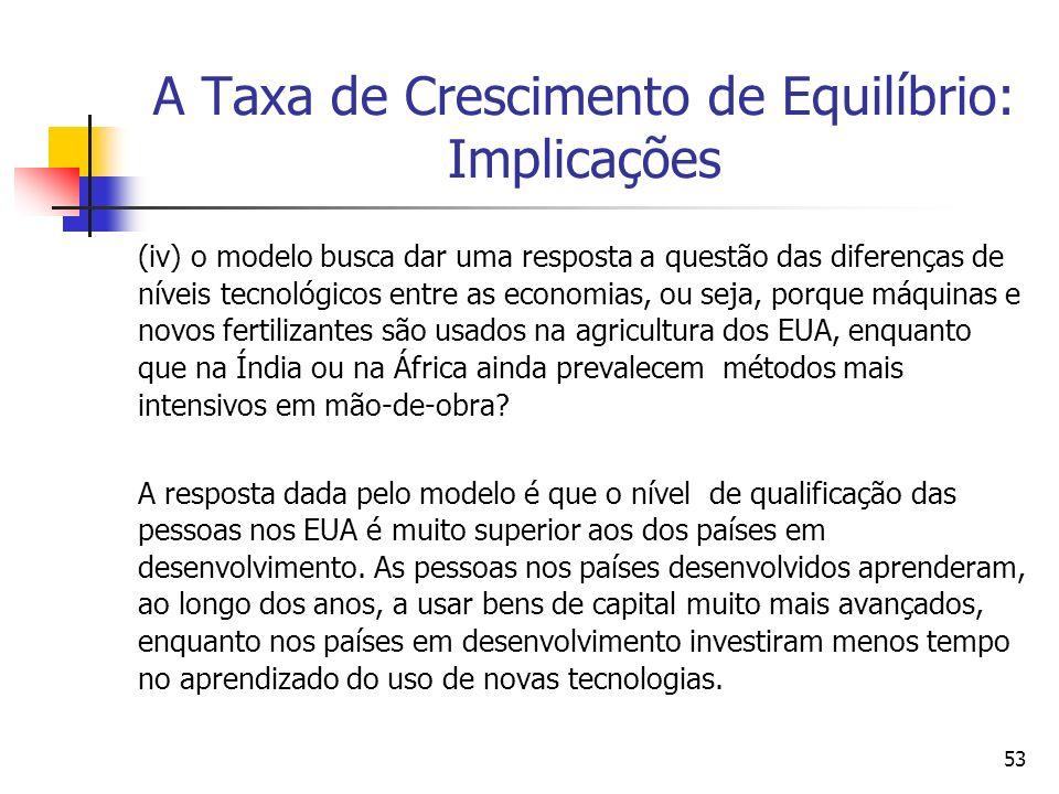 53 A Taxa de Crescimento de Equilíbrio: Implicações (iv) o modelo busca dar uma resposta a questão das diferenças de níveis tecnológicos entre as econ