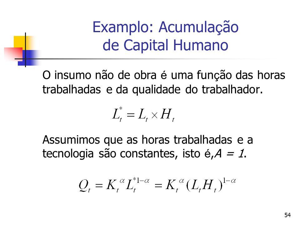 54 Examplo: Acumula ç ão de Capital Humano O insumo não de obra é uma fun ç ão das horas trabalhadas e da qualidade do trabalhador. Assumimos que as h