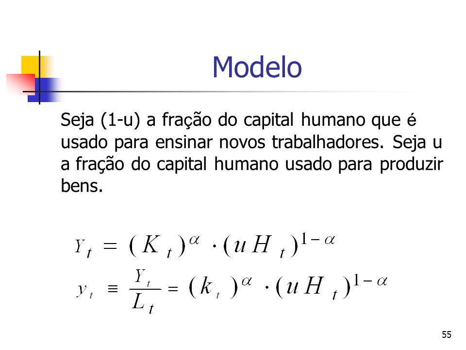 55 Modelo Seja (1-u) a fra ç ão do capital humano que é usado para ensinar novos trabalhadores. Seja u a fração do capital humano usado para produzir