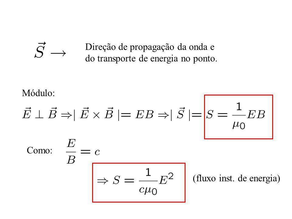 Direção de propagação da onda e do transporte de energia no ponto. Módulo: Como: (fluxo inst. de energia)