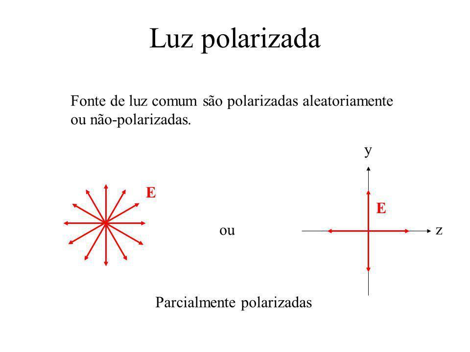 Luz polarizada y z E Fonte de luz comum são polarizadas aleatoriamente ou não-polarizadas. E ou Parcialmente polarizadas