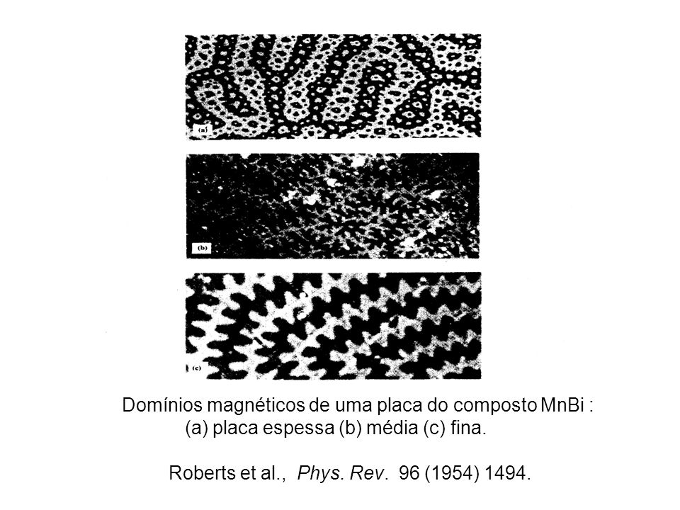 Domínios magnéticos de uma placa do composto MnBi : (a) placa espessa (b) média (c) fina.