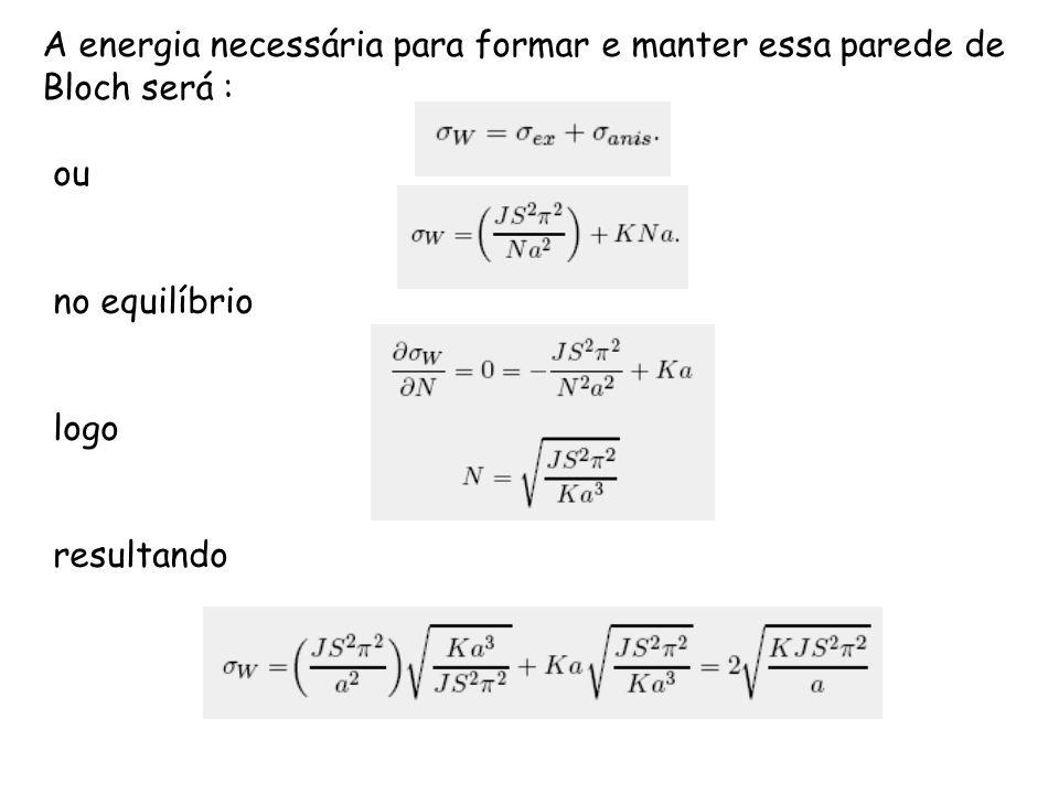A energia necessária para formar e manter essa parede de Bloch será : ou no equilíbrio logo resultando