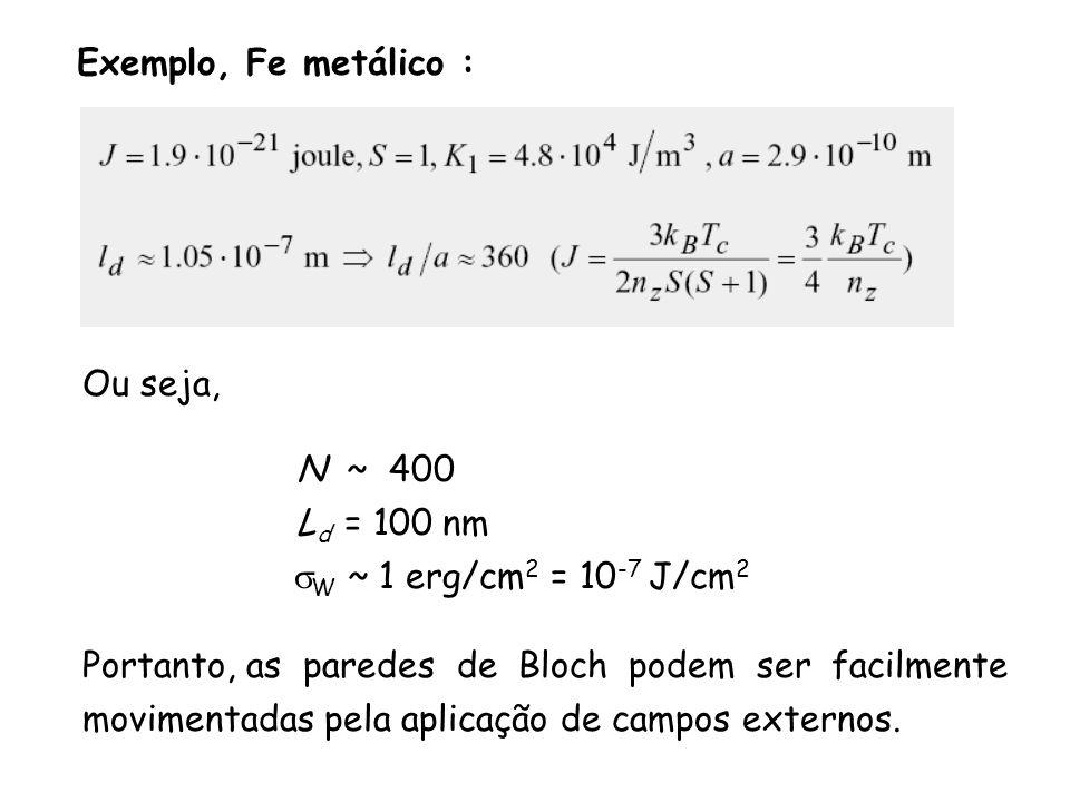 Exemplo, Fe metálico : Ou seja, N ~ 400 L d = 100 nm W ~ 1 erg/cm 2 = 10 -7 J/cm 2 Portanto, as paredes de Bloch podem ser facilmente movimentadas pela aplicação de campos externos.