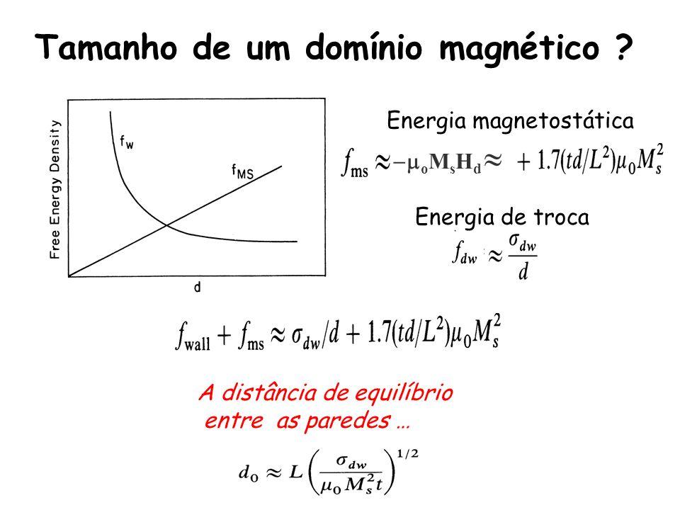 Tamanho de um domínio magnético .