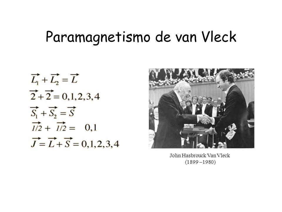 Paramagnetismo de van Vleck John Hasbrouck Van Vleck (1899 –1980)