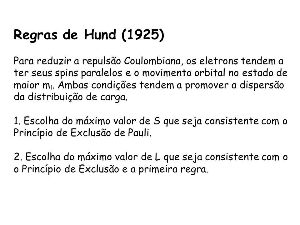 Regras de Hund (1925) Para reduzir a repulsão Coulombiana, os eletrons tendem a ter seus spins paralelos e o movimento orbital no estado de maior m l.