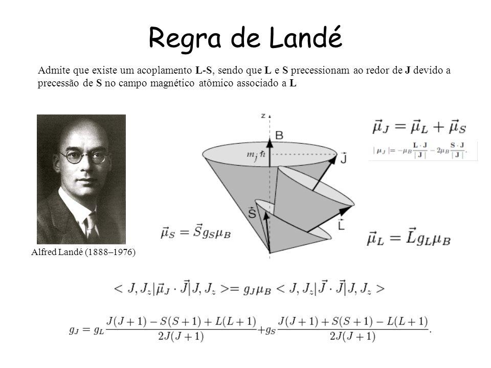 Regra de Landé Admite que existe um acoplamento L-S, sendo que L e S precessionam ao redor de J devido a precessão de S no campo magnético atômico associado a L Alfred Landé (1888–1976)
