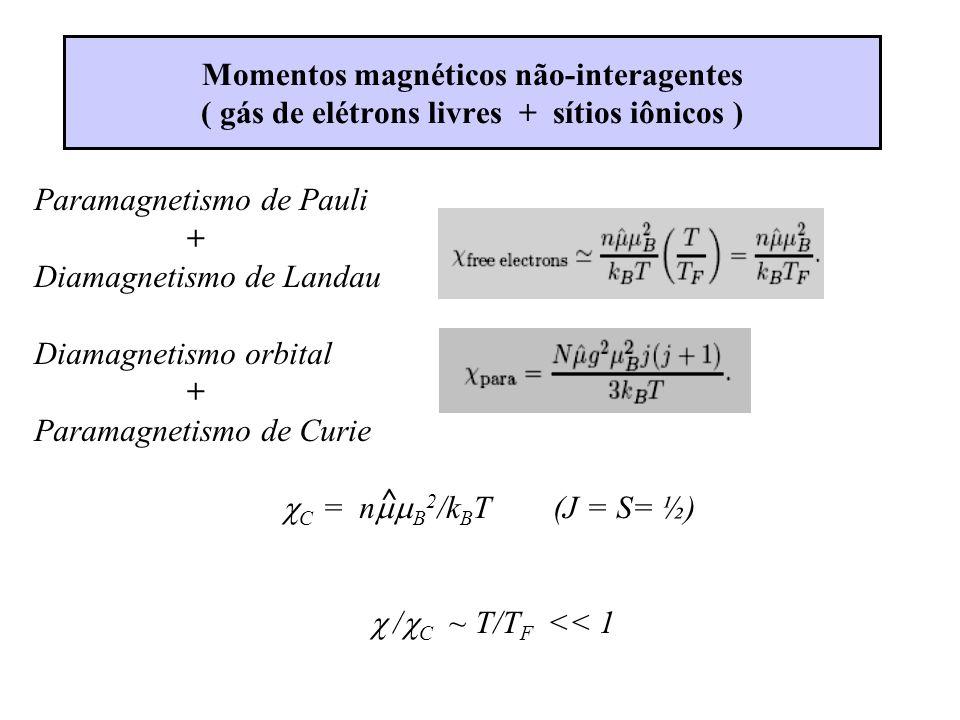 Momentos magnéticos não-interagentes ( gás de elétrons livres + sítios iônicos ) Paramagnetismo de Pauli + Diamagnetismo de Landau Diamagnetismo orbital + Paramagnetismo de Curie C = n B 2 /k B T (J = S= ½) / C ~ T/T F << 1 ^