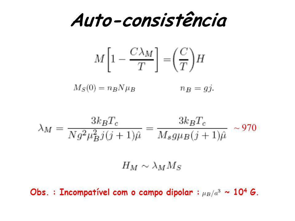 Auto-consistência Obs. : Incompatível com o campo dipolar : ~ 10 4 G. ~ 970