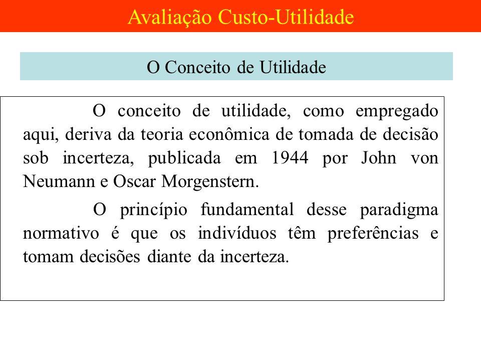 O conceito de utilidade, como empregado aqui, deriva da teoria econômica de tomada de decisão sob incerteza, publicada em 1944 por John von Neumann e