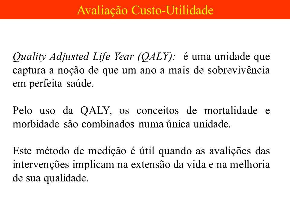 Quality Adjusted Life Year (QALY): é uma unidade que captura a noção de que um ano a mais de sobrevivência em perfeita saúde. Pelo uso da QALY, os con