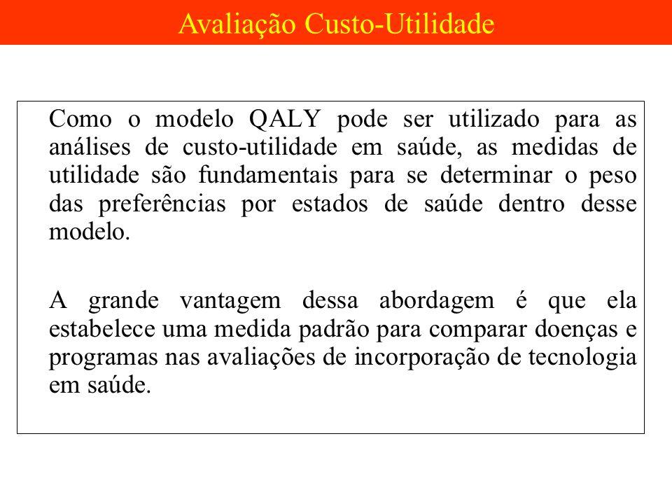Como o modelo QALY pode ser utilizado para as análises de custo-utilidade em saúde, as medidas de utilidade são fundamentais para se determinar o peso