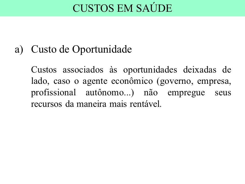 a)Custo de Oportunidade Custos associados às oportunidades deixadas de lado, caso o agente econômico (governo, empresa, profissional autônomo...) não
