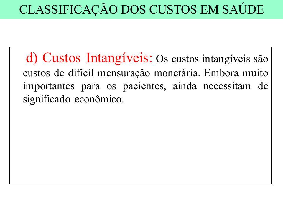 d) Custos Intangíveis: Os custos intangíveis são custos de difícil mensuração monetária. Embora muito importantes para os pacientes, ainda necessitam