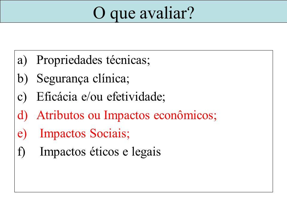 O que avaliar? a)Propriedades técnicas; b)Segurança clínica; c)Eficácia e/ou efetividade; d)Atributos ou Impactos econômicos; e) Impactos Sociais; f)