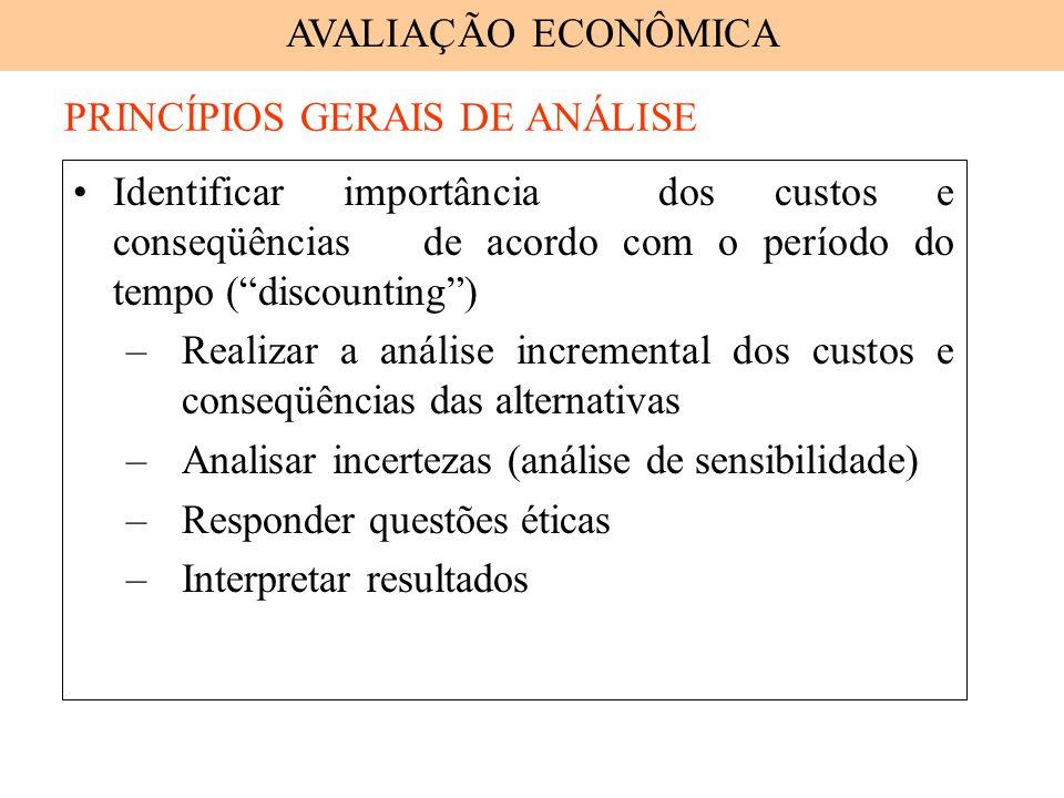 Identificar importância dos custos e conseqüências de acordo com o período do tempo (discounting) –Realizar a análise incremental dos custos e conseqü