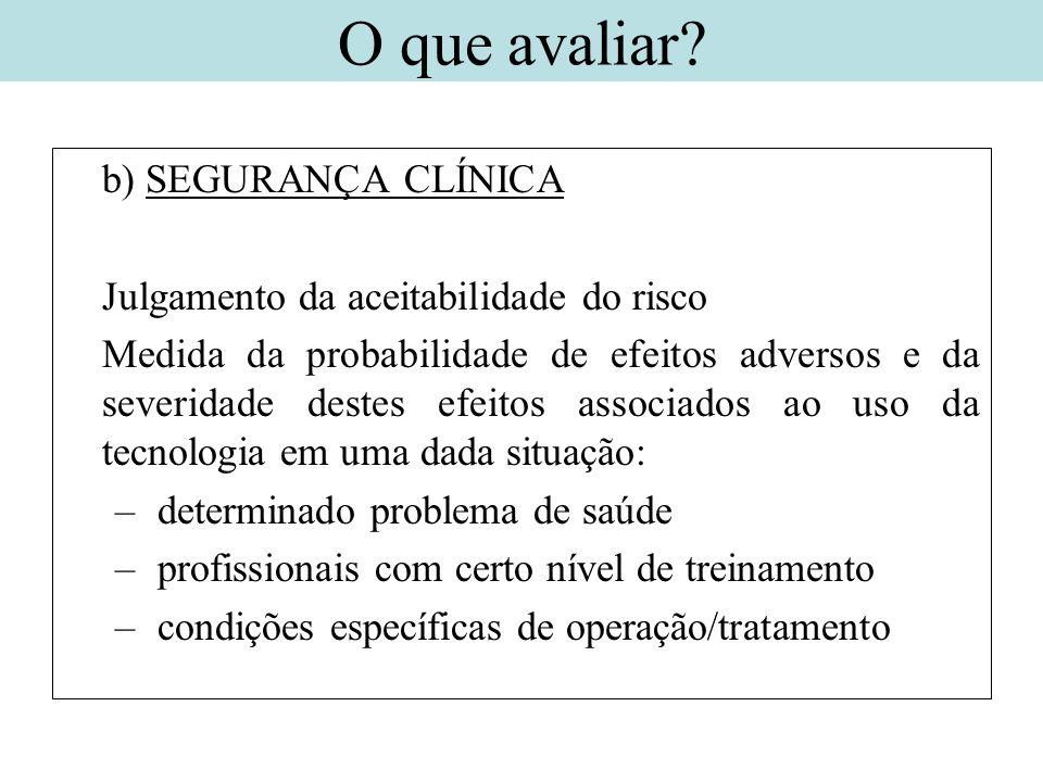 b) SEGURANÇA CLÍNICA Julgamento da aceitabilidade do risco Medida da probabilidade de efeitos adversos e da severidade destes efeitos associados ao us