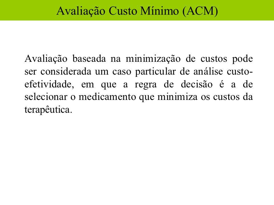 Avaliação baseada na minimização de custos pode ser considerada um caso particular de análise custo- efetividade, em que a regra de decisão é a de sel
