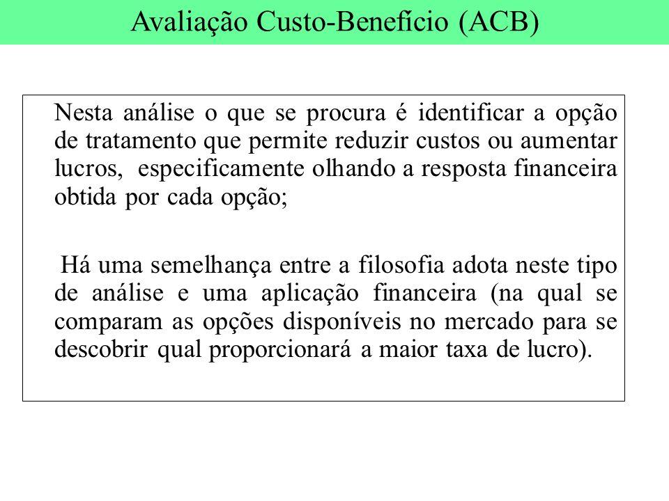 Nesta análise o que se procura é identificar a opção de tratamento que permite reduzir custos ou aumentar lucros, especificamente olhando a resposta f