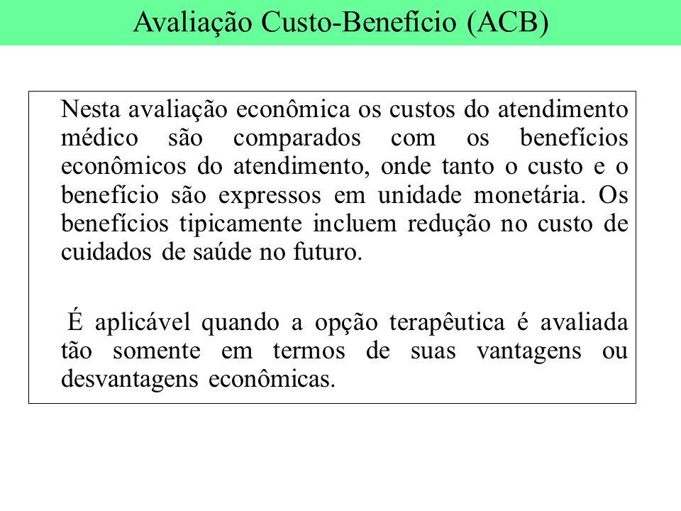 Nesta avaliação econômica os custos do atendimento médico são comparados com os benefícios econômicos do atendimento, onde tanto o custo e o benefício