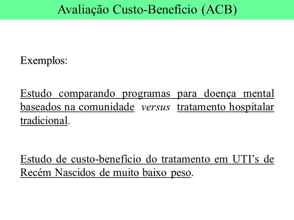 Exemplos Exemplos: Estudo comparando programas para doença mental baseados na comunidade versus tratamento hospitalar tradicional. Estudo de custo-ben