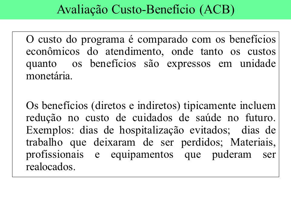 O custo do programa é comparado com os benefícios econômicos do atendimento, onde tanto os custos quanto os benefícios são expressos em unidade monetá