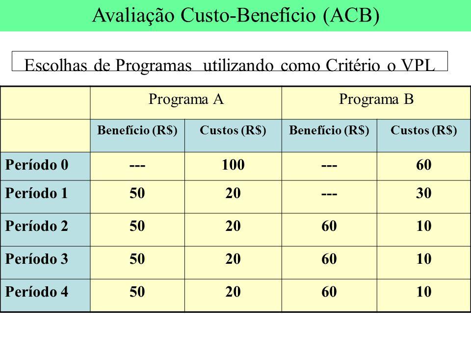 Escolhas de Programas utilizando como Critério o VPL Programa APrograma B Benefício (R$)Custos (R$)Benefício (R$)Custos (R$) Período 0---100---60 Perí