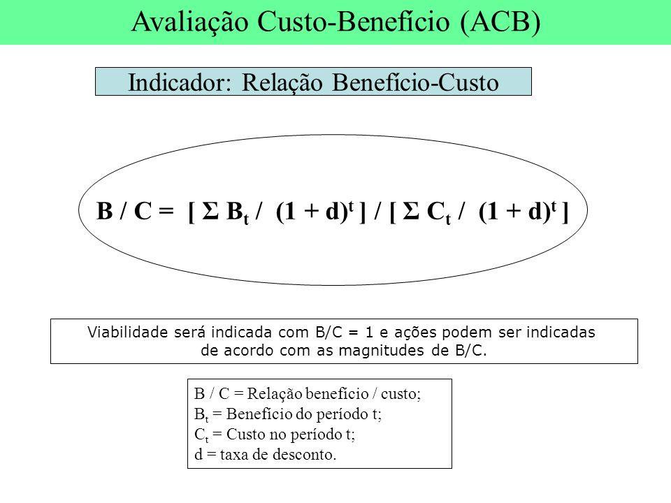 B / C = Relação benefício / custo; B t = Benefício do período t; C t = Custo no período t; d = taxa de desconto. B / C = [ Σ B t / (1 + d) t ] / [ Σ C
