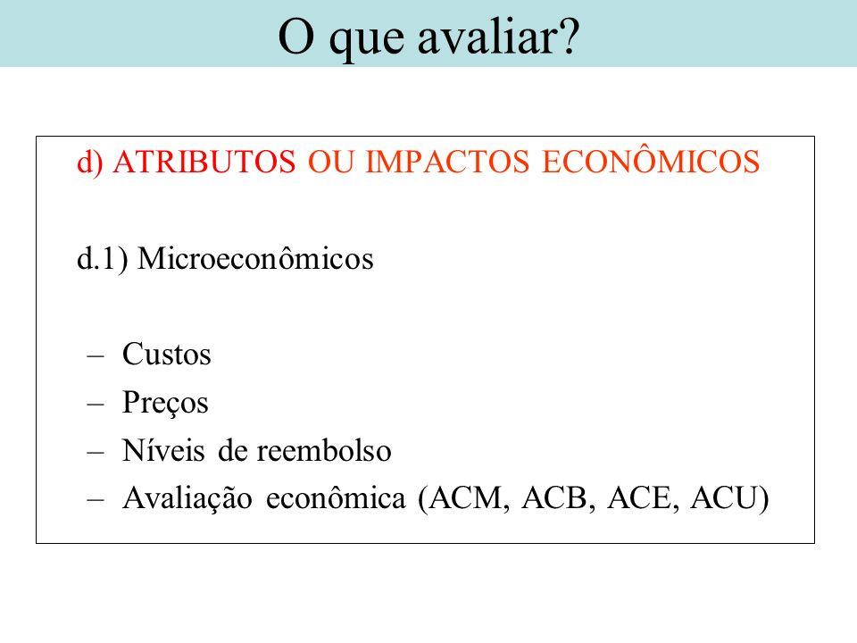d) ATRIBUTOS OU IMPACTOS ECONÔMICOS d.1) Microeconômicos – Custos – Preços – Níveis de reembolso – Avaliação econômica (ACM, ACB, ACE, ACU) O que aval