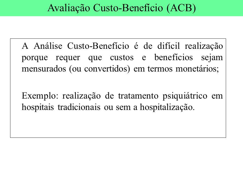 A Análise Custo-Benefício é de difícil realização porque requer que custos e benefícios sejam mensurados (ou convertidos) em termos monetários; Exempl