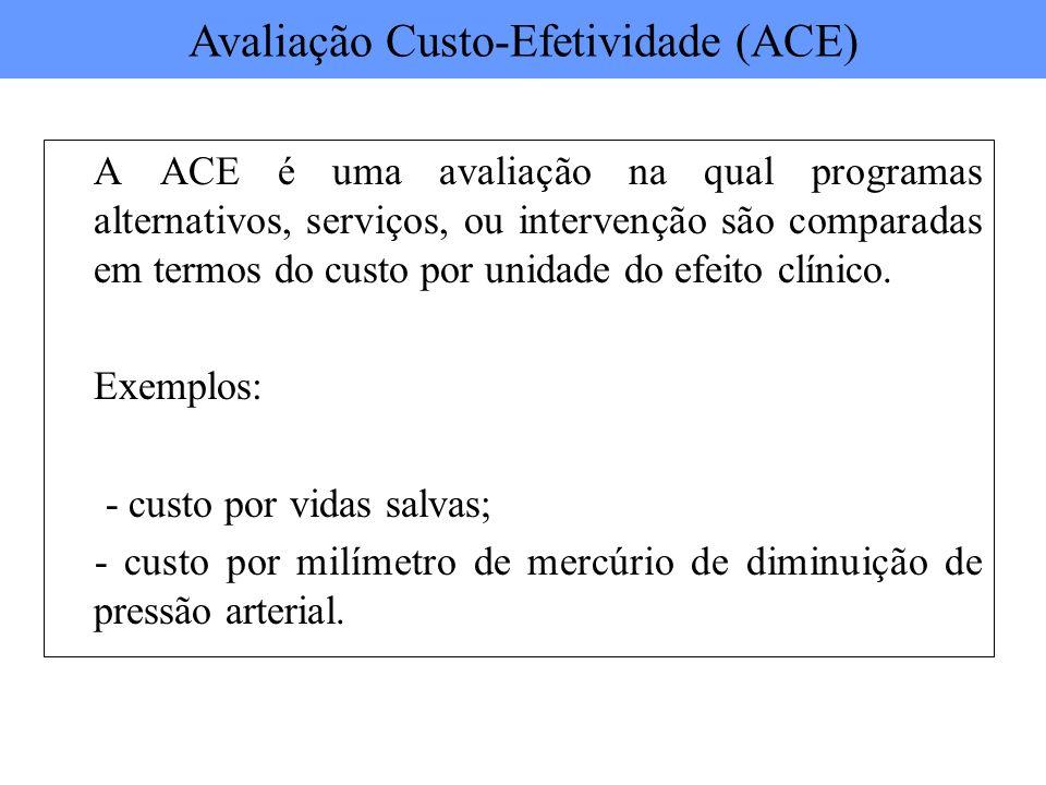 A ACE é uma avaliação na qual programas alternativos, serviços, ou intervenção são comparadas em termos do custo por unidade do efeito clínico. Exempl