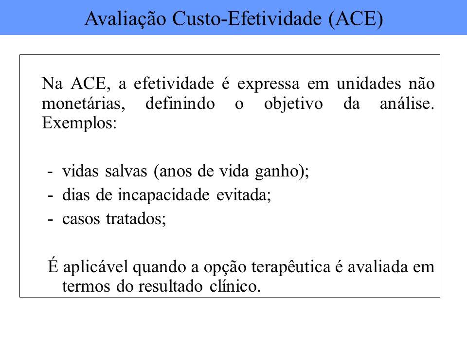 Na ACE, a efetividade é expressa em unidades não monetárias, definindo o objetivo da análise. Exemplos: - vidas salvas (anos de vida ganho); -dias de