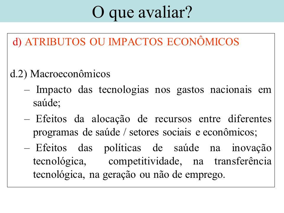 d) ATRIBUTOS OU IMPACTOS ECONÔMICOS d.2) Macroeconômicos – Impacto das tecnologias nos gastos nacionais em saúde; – Efeitos da alocação de recursos en