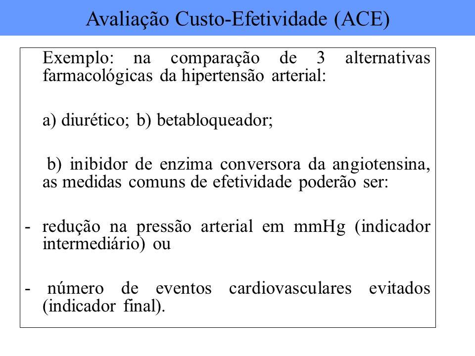Exemplo: na comparação de 3 alternativas farmacológicas da hipertensão arterial: a) diurético; b) betabloqueador; b) inibidor de enzima conversora da