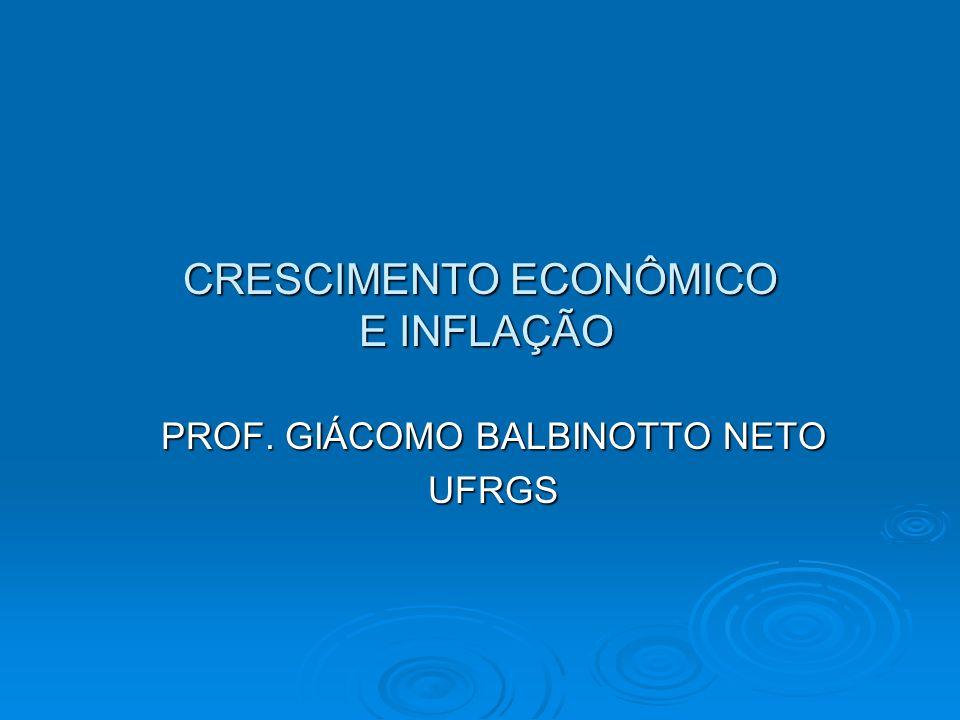 32 Determinação Simultânea da Inflação e Crescimento Econômico Crescimento econômico Inflação M G G E 45° Este intecepto varia diretamente com a taxa de Poupança e com a eficiência autônoma e Invesamente com a depreciação.