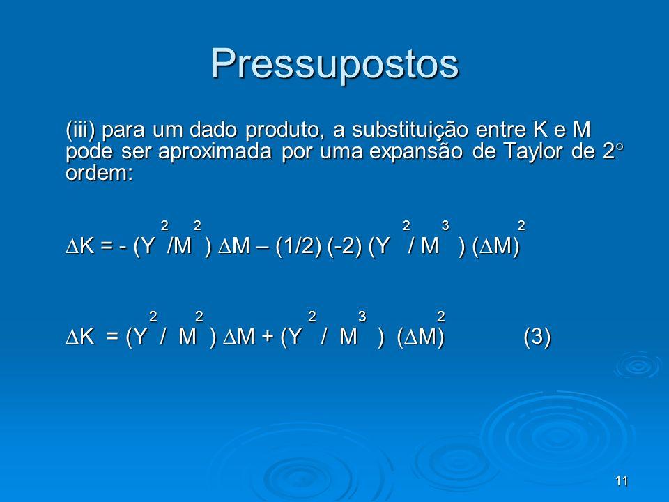 11 Pressupostos (iii) para um dado produto, a substituição entre K e M pode ser aproximada por uma expansão de Taylor de 2 ordem: 2 2 2 3 2 2 2 2 3 2