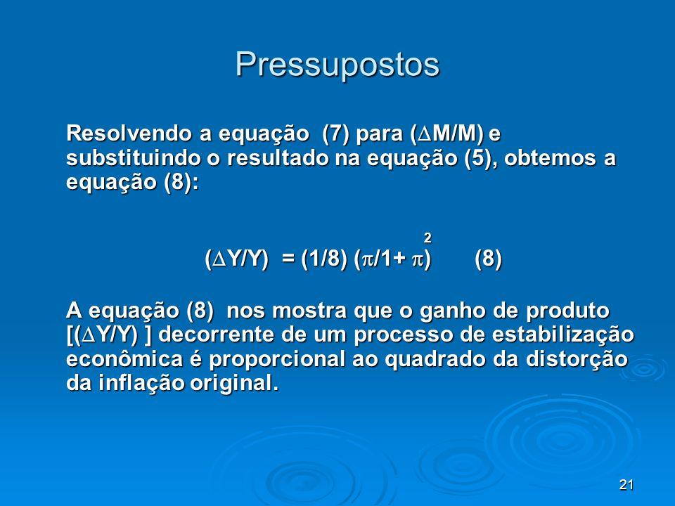 21 Pressupostos Resolvendo a equação (7) para ( M/M) e substituindo o resultado na equação (5), obtemos a equação (8): 2 ( Y/Y) = (1/8) ( /1+ ) (8) (