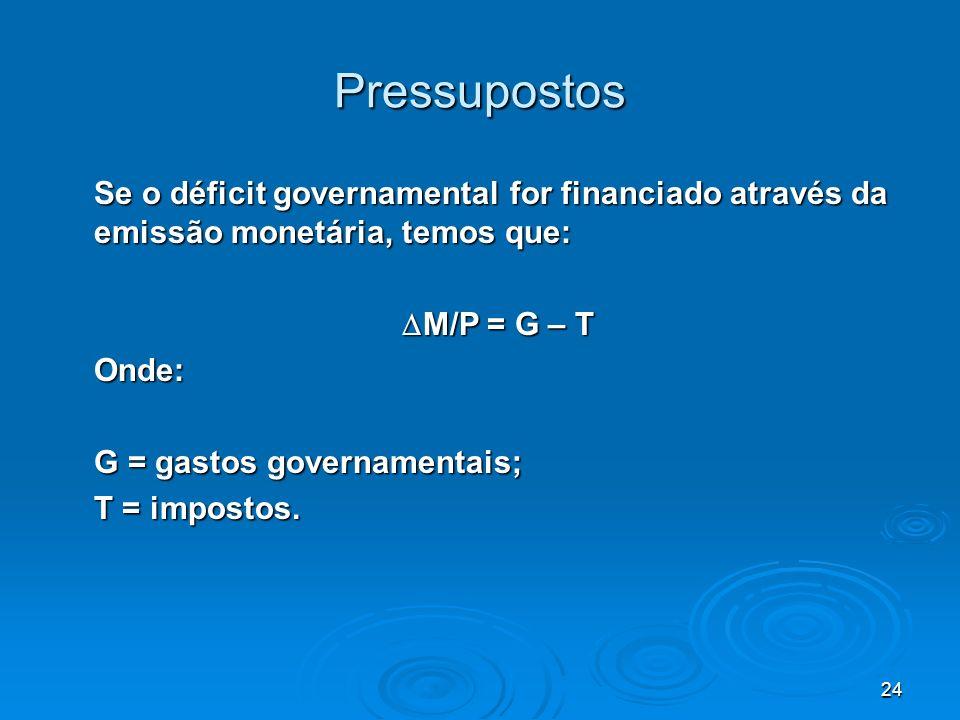 24 Pressupostos Se o déficit governamental for financiado através da emissão monetária, temos que: M/P = G – T M/P = G – TOnde: G = gastos governament