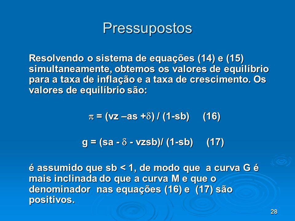 28 Pressupostos Resolvendo o sistema de equações (14) e (15) simultaneamente, obtemos os valores de equilíbrio para a taxa de inflação e a taxa de cre