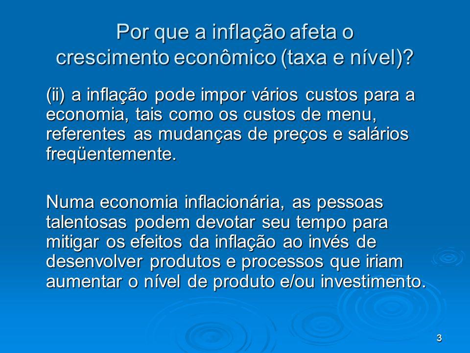 3 Por que a inflação afeta o crescimento econômico (taxa e nível)? (ii) a inflação pode impor vários custos para a economia, tais como os custos de me