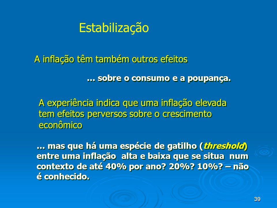 39 A inflação têm também outros efeitos … sobre o consumo e a poupança. A experiência indica que uma inflação elevada tem efeitos perversos sobre o cr