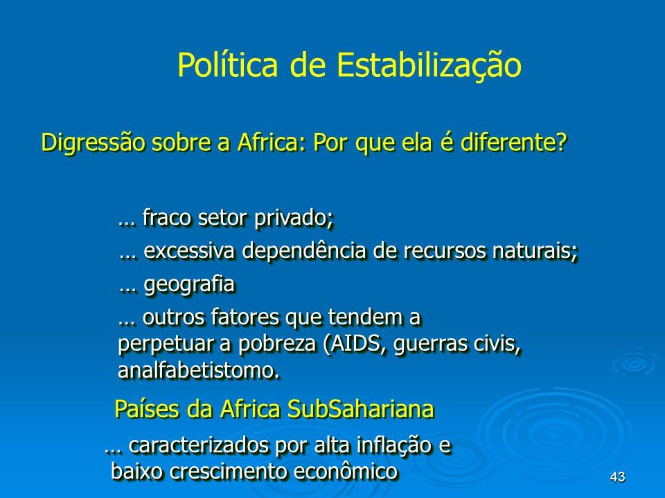 43 Política de Estabilização Digressão sobre a Africa: Por que ela é diferente? … fraco setor privado; … excessiva dependência de recursos naturais; …